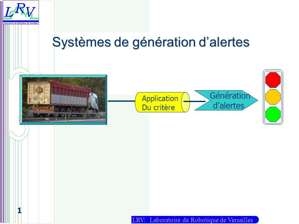 LRV: Laboratoire de Robotique de Versailles 1 Génération dalertes Application Du critère Systèmes de génération dalertes