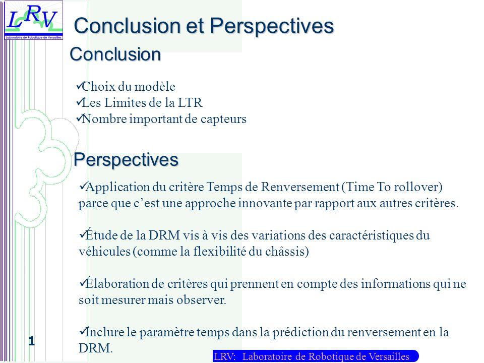 LRV: Laboratoire de Robotique de Versailles 1 Conclusion et Perspectives Conclusion Perspectives Application du critère Temps de Renversement (Time To