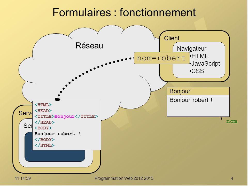 411:16:33Programmation Web 2012-2013 Nom: Formulaire robert Valider nom Réseau Formulaires : fonctionnement Serveur Serveur Web Module PHP Client Navigateur HTML JavaScript CSS Bonjour Bonjour robert .