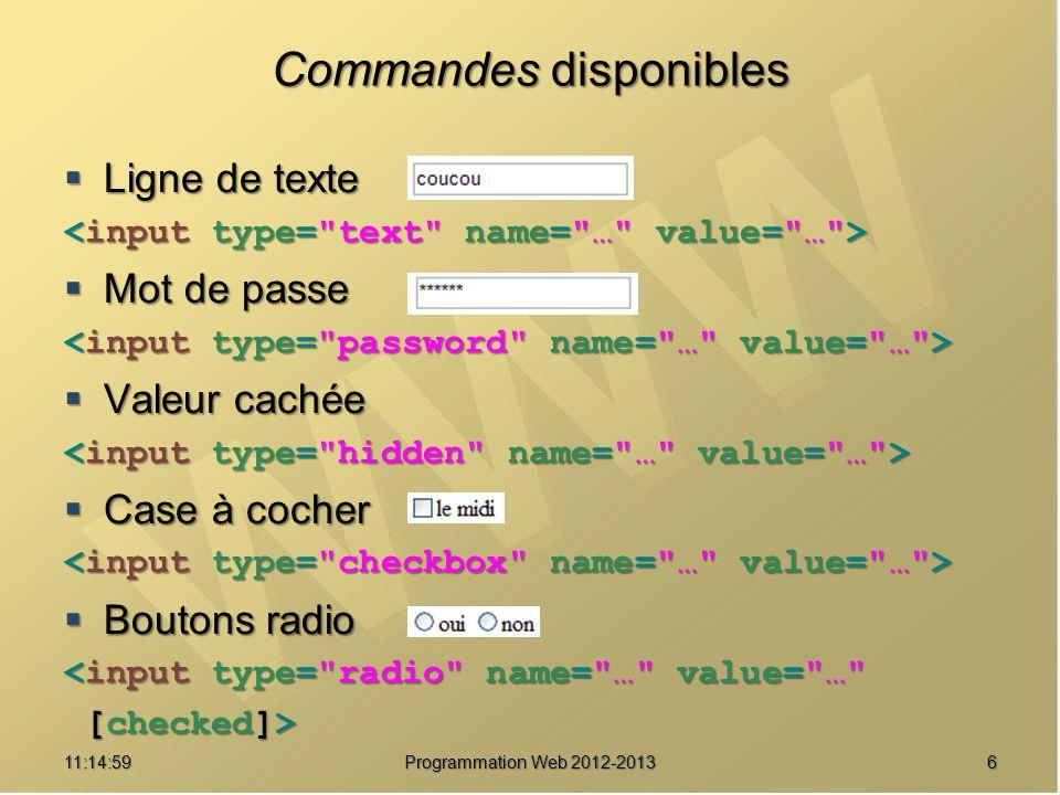 611:16:33 Programmation Web 2012-2013 Commandes disponibles Ligne de texte Ligne de texte Mot de passe Mot de passe Valeur cachée Valeur cachée Case à