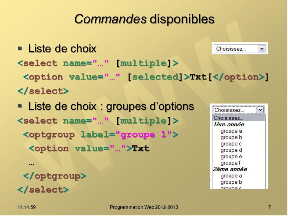 711:16:33 Programmation Web 2012-2013 Commandes disponibles Liste de choix Liste de choix Txt[ ] Txt[ ] Liste de choix : groupes doptions Liste de choix : groupes doptions Txt Txt …
