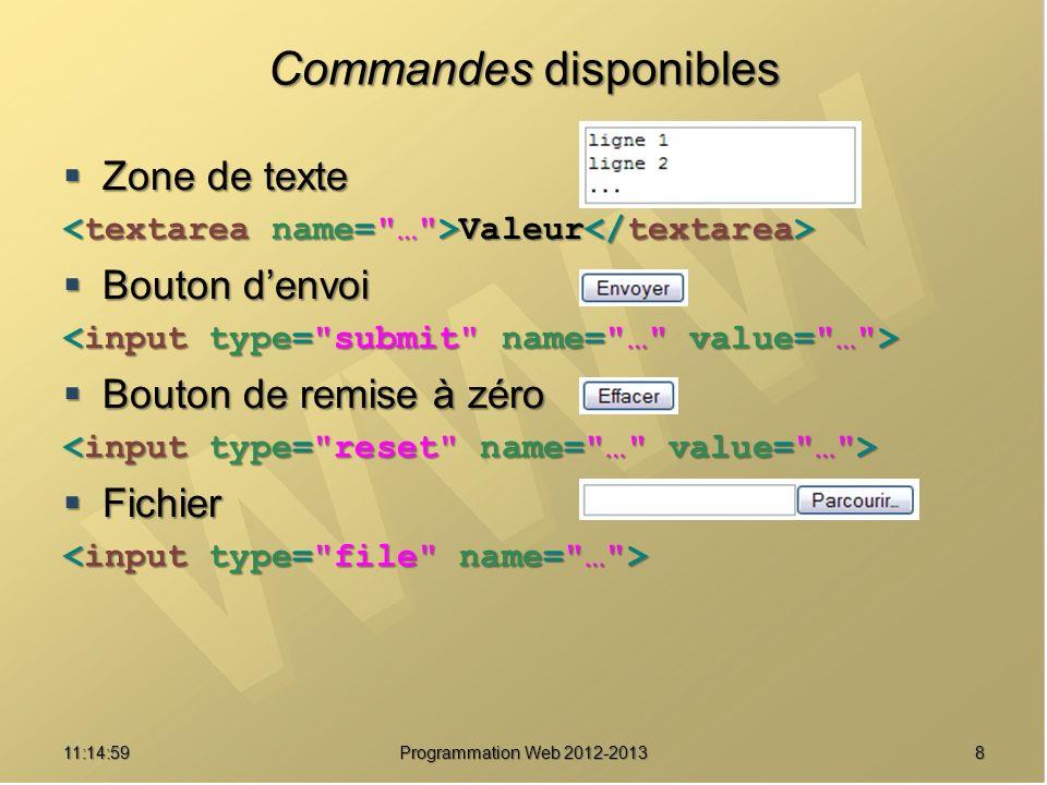 811:16:33 Programmation Web 2012-2013 Commandes disponibles Zone de texte Zone de texte Valeur Valeur Bouton denvoi Bouton denvoi Bouton de remise à zéro Bouton de remise à zéro Fichier Fichier