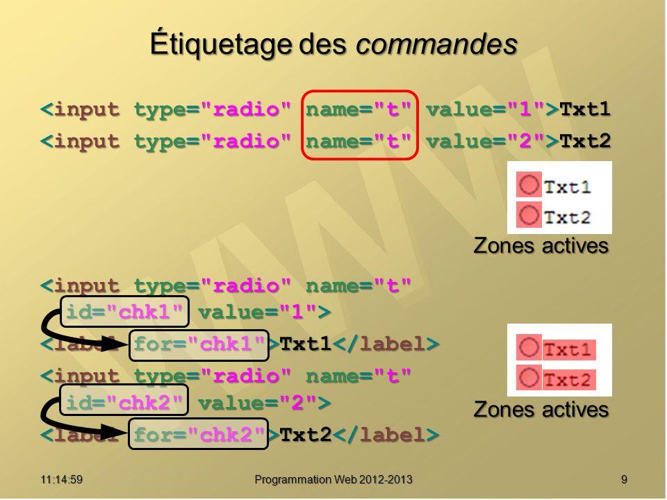 911:16:33 Programmation Web 2012-2013 Étiquetage des commandes Txt1 Txt1 Txt2 Txt2 Txt1 Txt1 Txt2 Txt2 Zones actives