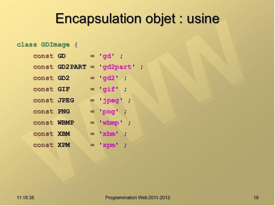 Encapsulation objet : usine class GDImage { const GD = 'gd' ; const GD = 'gd' ; const GD2PART = 'gd2part' ; const GD2PART = 'gd2part' ; const GD2 = 'g