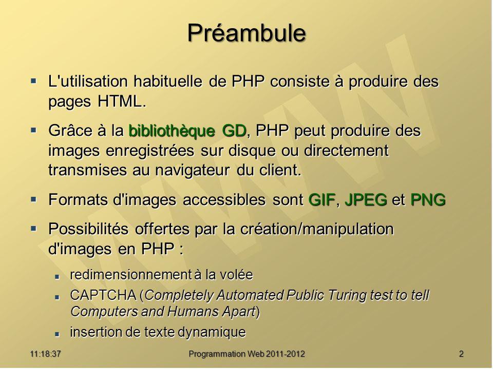 211:20:16 Programmation Web 2011-2012 Préambule L'utilisation habituelle de PHP consiste à produire des pages HTML. L'utilisation habituelle de PHP co