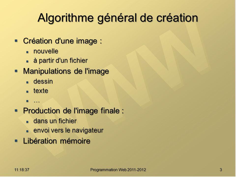 411:20:16 Programmation Web 2011-2012 Algorithme général de création <?php // Création $im = imageCreateTrueColor(100, 100) ; // Manipulations $red = imageColorAllocate($im, 255, 0, 0) ; imageFilledRectangle($im, 0, 0, 99, 99, $red) ; 99, 99, $red) ; // Envoi vers le navigateur header( Content-Type: image/png ) ; imagePNG($im) ; // Libération mémoire imageDestroy($im) ;