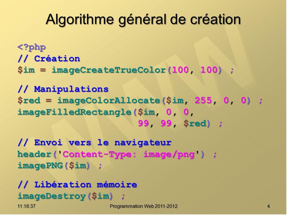 411:20:16 Programmation Web 2011-2012 Algorithme général de création < php // Création $im = imageCreateTrueColor(100, 100) ; // Manipulations $red = imageColorAllocate($im, 255, 0, 0) ; imageFilledRectangle($im, 0, 0, 99, 99, $red) ; 99, 99, $red) ; // Envoi vers le navigateur header( Content-Type: image/png ) ; imagePNG($im) ; // Libération mémoire imageDestroy($im) ;