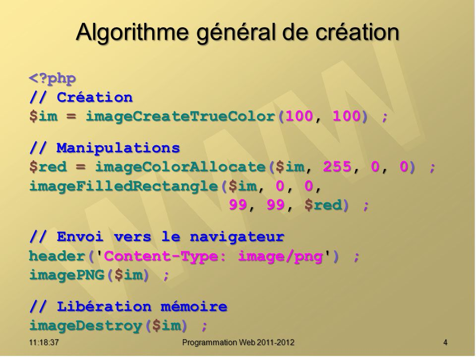 Encapsulation objet : usine public static function createFromSize($x, $y, $truecolor=true) { createFromSize($x, $y, $truecolor=true) { $x = (int) $x ; $y = (int) $y ; $x = (int) $x ; $y = (int) $y ; $resource = false ; $resource = false ; if ($truecolor) if ($truecolor) $resource = @imageCreateTrueColor($x, $y) ; $resource = @imageCreateTrueColor($x, $y) ; else $resource = @imageCreate($x, $y) ; else $resource = @imageCreate($x, $y) ; if ($resource !== false) { if ($resource !== false) { $image = new self() ; $image = new self() ; $image->_resource = $resource ; $image->_resource = $resource ; return $image ; } return $image ; } else else throw new LogicException( Failed to create GD resource ) ; } throw new LogicException( Failed to create GD resource ) ; } 1511:20:16 Programmation Web 2011-2012