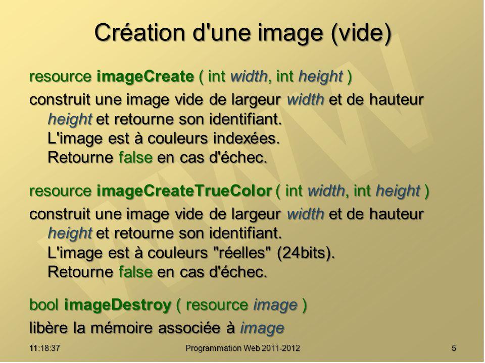511:20:16 Programmation Web 2011-2012 Création d'une image (vide) resource imageCreate ( int width, int height ) construit une image vide de largeur w