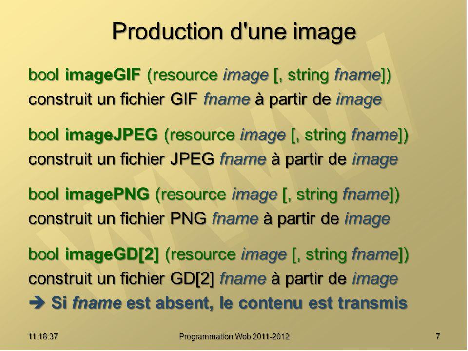 711:20:16 Programmation Web 2011-2012 Production d une image bool imageGIF (resource image [, string fname]) construit un fichier GIF fname à partir de image bool imageJPEG (resource image [, string fname]) construit un fichier JPEG fname à partir de image bool imagePNG (resource image [, string fname]) construit un fichier PNG fname à partir de image bool imageGD[2] (resource image [, string fname]) construit un fichier GD[2] fname à partir de image Si fname est absent, le contenu est transmis Si fname est absent, le contenu est transmis