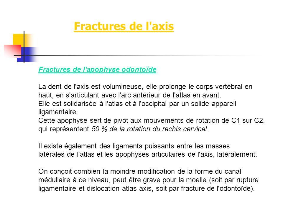 Fractures de l'axis Fractures de l'apophyse odontoïde La dent de l'axis est volumineuse, elle prolonge le corps vertébral en haut, en s'articulant ave