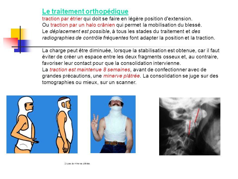 Le traitement orthopédique traction par étrier qui doit se faire en légère position d'extension. Ou traction par un halo crânien qui permet la mobilis