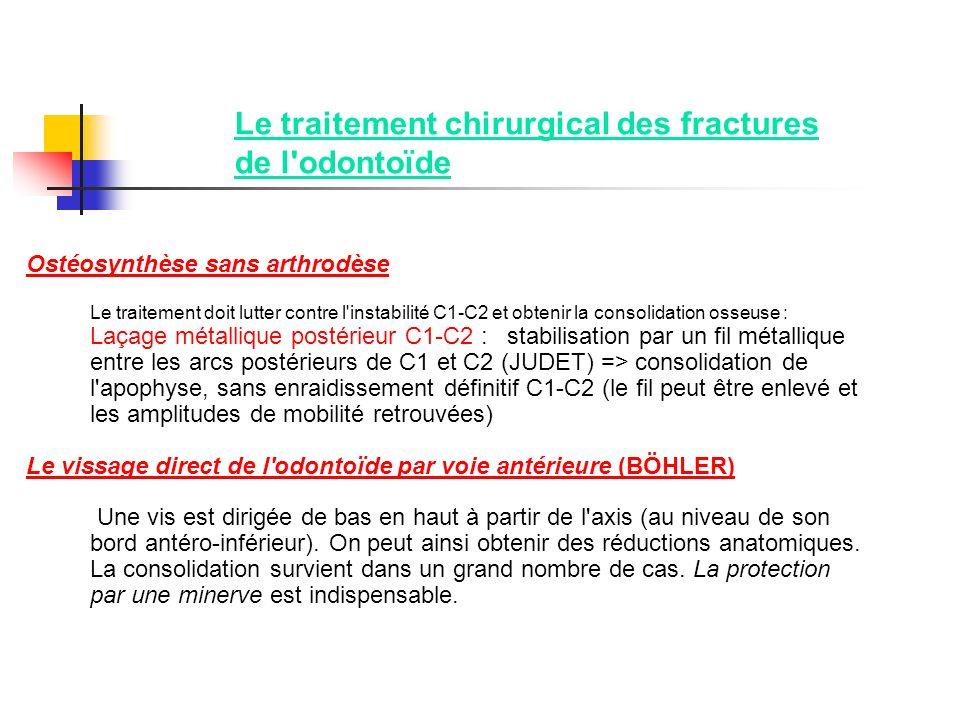 Le traitement chirurgical des fractures de l'odontoïde Ostéosynthèse sans arthrodèse Le traitement doit lutter contre l'instabilité C1-C2 et obtenir l