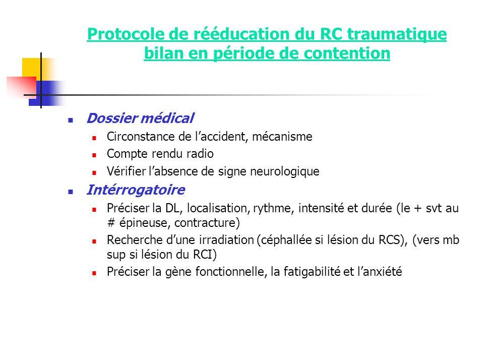 Protocole de rééducation du RC traumatique bilan en période de contention Dossier médical Circonstance de laccident, mécanisme Compte rendu radio Véri