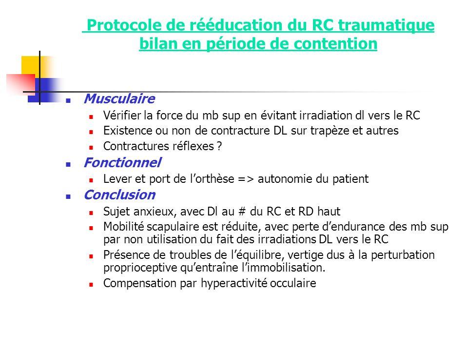 Protocole de rééducation du RC traumatique bilan en période de contention Musculaire Vérifier la force du mb sup en évitant irradiation dl vers le RC