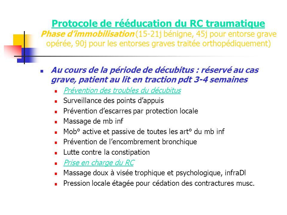 Protocole de rééducation du RC traumatique Phase dimmobilisation (15-21j bénigne, 45j pour entorse grave opérée, 90j pour les entorses graves traitée