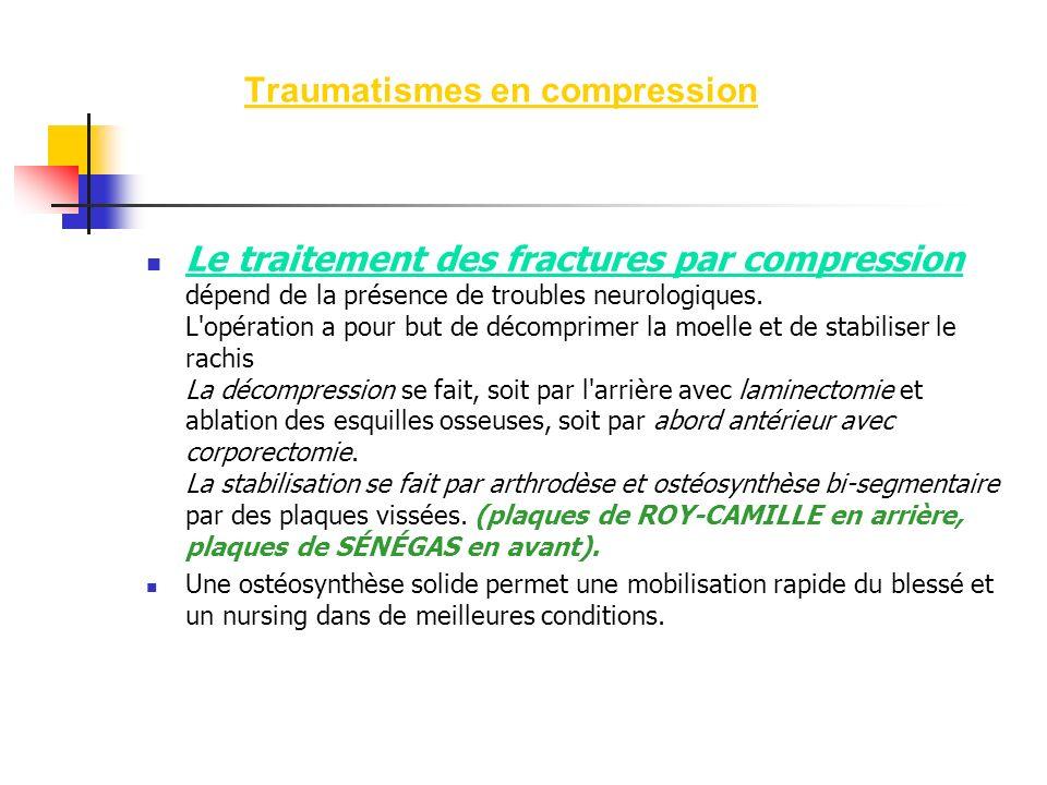 Le traitement des fractures par compression dépend de la présence de troubles neurologiques. L'opération a pour but de décomprimer la moelle et de sta