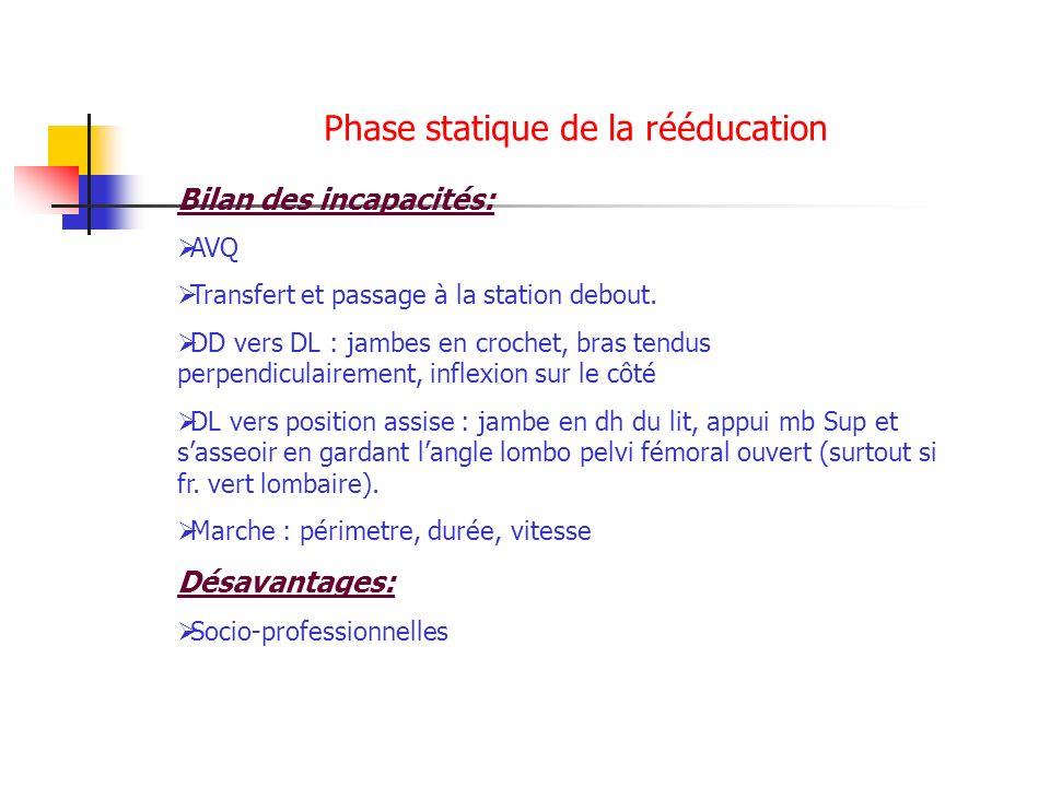 Phase statique de la rééducation Bilan des incapacités: AVQ Transfert et passage à la station debout. DD vers DL : jambes en crochet, bras tendus perp