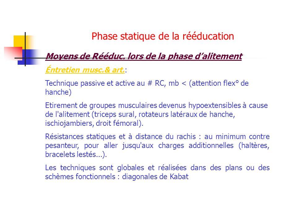 Phase statique de la rééducation Moyens de Rééduc. lors de la phase dalitement Éntretien musc.& art.: Technique passive et active au # RC, mb < (atten