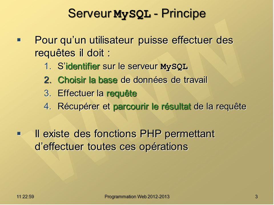 311:24:32 Programmation Web 2012-2013 Serveur MySQL - Principe Pour quun utilisateur puisse effectuer des requêtes il doit : Pour quun utilisateur puisse effectuer des requêtes il doit : 1.Sidentifier sur le serveur MySQL 2.Choisir la base de données de travail 3.Effectuer la requête 4.Récupérer et parcourir le résultat de la requête Il existe des fonctions PHP permettant deffectuer toutes ces opérations Il existe des fonctions PHP permettant deffectuer toutes ces opérations