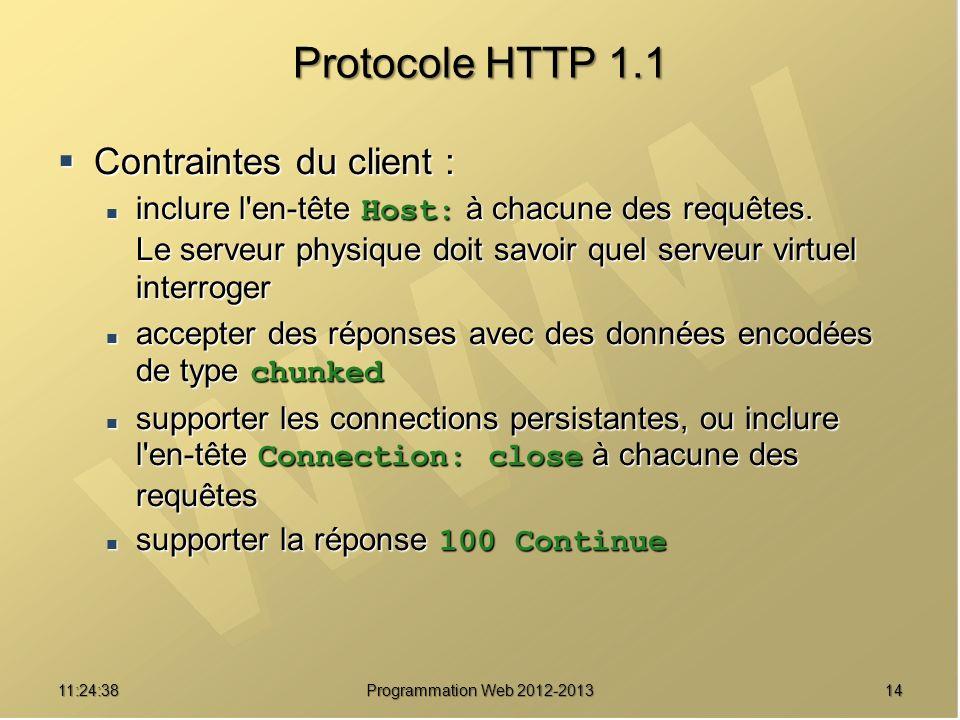 1411:26:40 Programmation Web 2012-2013 Protocole HTTP 1.1 Contraintes du client : Contraintes du client : inclure l'en-tête Host: à chacune des requêt