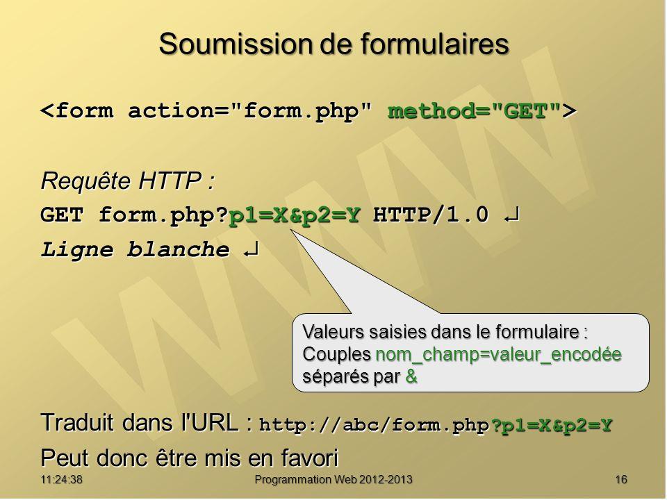 1611:26:40 Programmation Web 2012-2013 Soumission de formulaires Requête HTTP : GET form.php?p1=X&p2=Y HTTP/1.0 GET form.php?p1=X&p2=Y HTTP/1.0 Ligne