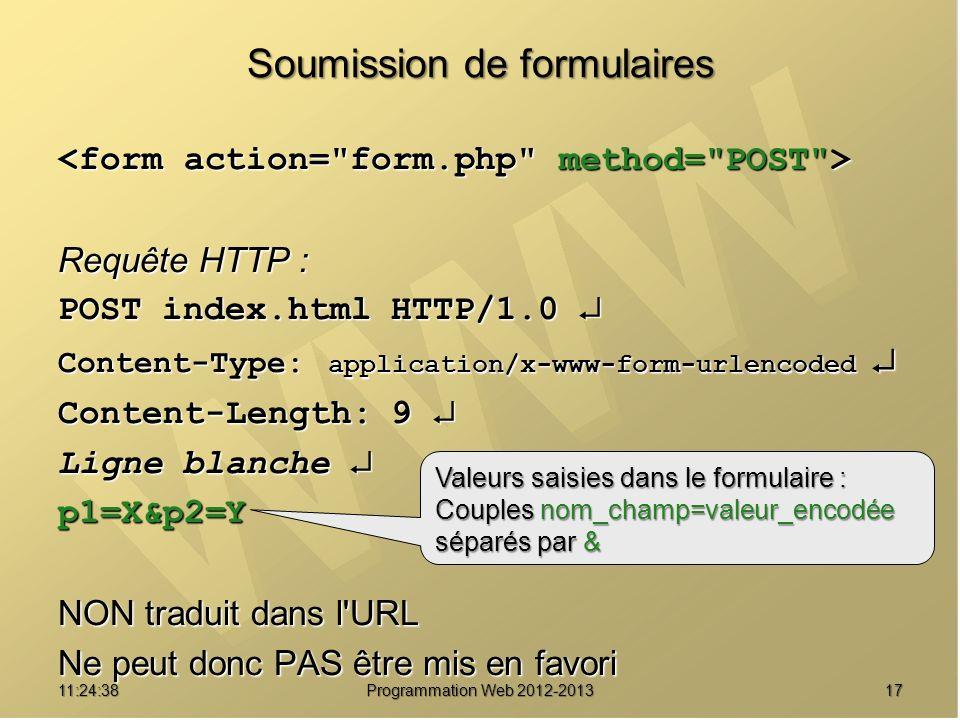 1711:26:40 Programmation Web 2012-2013 Soumission de formulaires Requête HTTP : POST index.html HTTP/1.0 POST index.html HTTP/1.0 Content-Type: applic