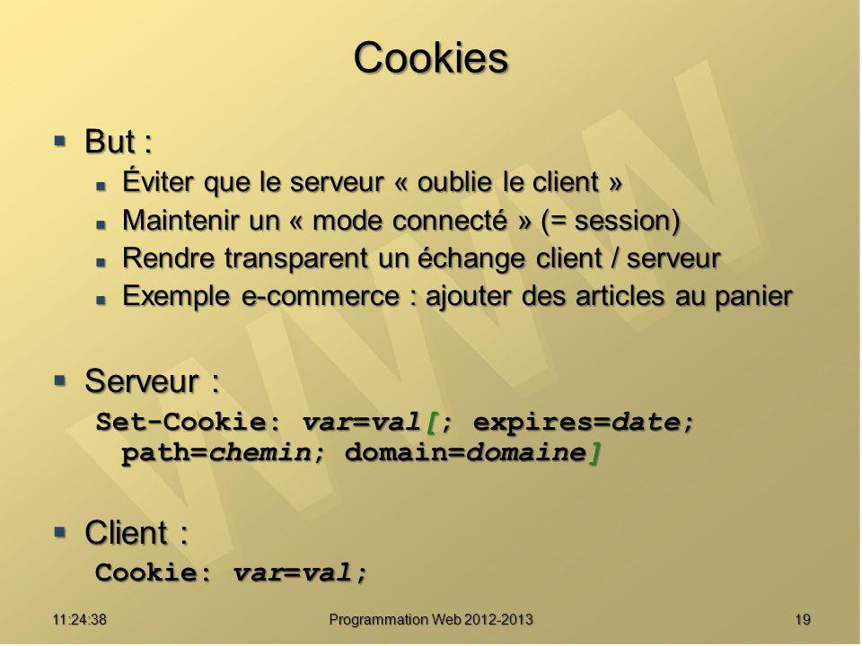 1911:26:40 Programmation Web 2012-2013 Cookies But : But : Éviter que le serveur « oublie le client » Éviter que le serveur « oublie le client » Maint