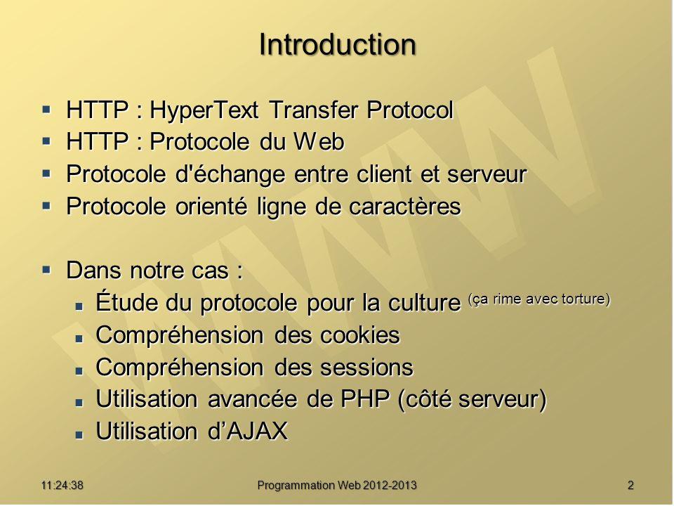 311:26:40 Programmation Web 2012-2013 Réseau Utilisation de HTTP/1.0 Client Web (Navigateur) Serveur Web (Apache) Connexion TCP (port 80) Validation de la connexion Requête HTTP Réponse HTTP Fermeture de connexion
