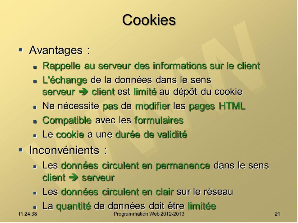 2111:26:40 Programmation Web 2012-2013 Cookies Avantages : Avantages : Rappelle au serveur des informations sur le client Rappelle au serveur des info