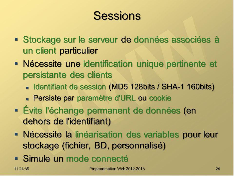 2411:26:40 Programmation Web 2012-2013 Sessions Stockage sur le serveur de données associées à un client particulier Stockage sur le serveur de donnée