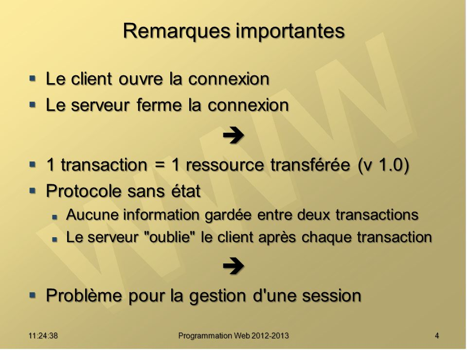 1511:26:40 Programmation Web 2012-2013 Requête HTTP 1.1 GET POST HEAD chemin HTTP/1.1 GET POST HEAD chemin HTTP/1.1 Host: hôte Host: hôte User-Agent: agent User-Agent: agent [header ] [… ] Ligne blanche Ligne blanche [Données] Obligatoire Netiquette