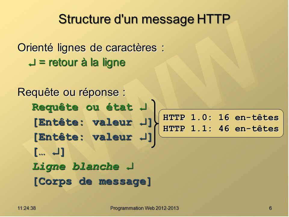1711:26:40 Programmation Web 2012-2013 Soumission de formulaires Requête HTTP : POST index.html HTTP/1.0 POST index.html HTTP/1.0 Content-Type: application/x-www-form-urlencoded Content-Type: application/x-www-form-urlencoded Content-Length: 9 Content-Length: 9 Ligne blanche Ligne blanche p1=X&p2=Y NON traduit dans l URL Ne peut donc PAS être mis en favori Valeurs saisies dans le formulaire : Couples nom_champ=valeur_encodée séparés par &