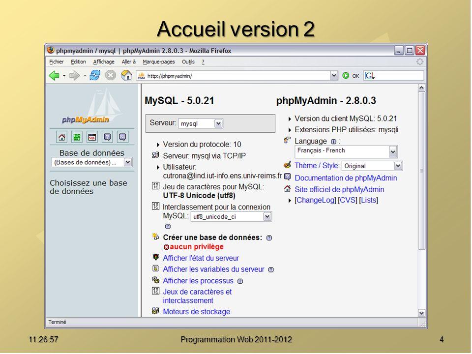 1511:28:32Programmation Web 2011-2012 Exportation de données / base