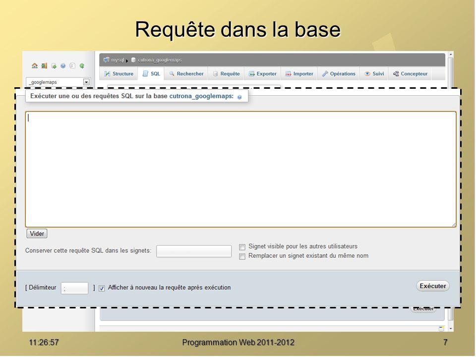 811:28:32Programmation Web 2011-2012 Recherche dans la base
