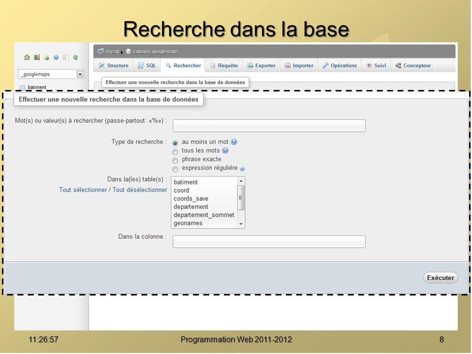 911:28:32Programmation Web 2011-2012 Requête assistée dans la base