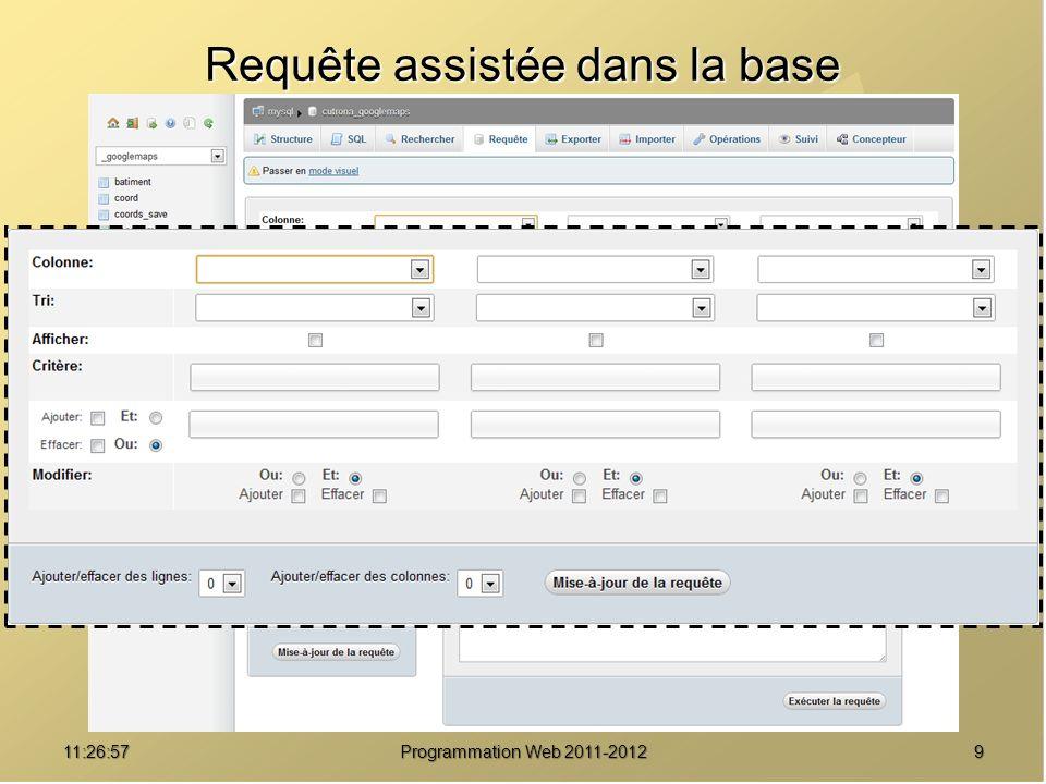 1011:28:32Programmation Web 2011-2012 Afficher le contenu d une table