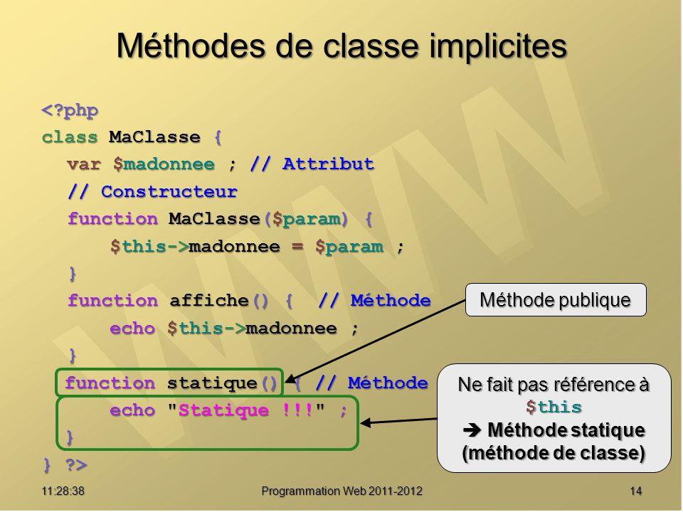 1411:30:19 Programmation Web 2011-2012 Méthodes de classe implicites <?php class MaClasse { var $madonnee ; // Attribut // Constructeur function MaClasse($param) { $this->madonnee = $param ; } function affiche() { // Méthode echo $this->madonnee ; } function statique() { // Méthode function statique() { // Méthode echo Statique !!! ; echo Statique !!! ; } } ?> Méthode publique Ne fait pas référence à $this Méthode statique Méthode statique (méthode de classe)