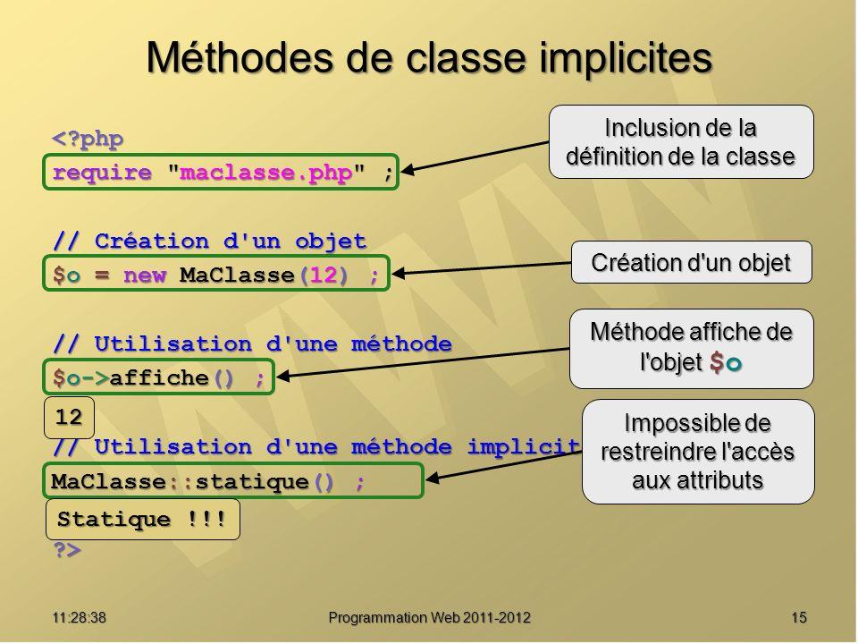 1511:30:19 Programmation Web 2011-2012 Méthodes de classe implicites <?php require maclasse.php ; // Création d un objet $o = new MaClasse(12) ; // Utilisation d une méthode $o->affiche() ; // Utilisation d une méthode implicitement statique MaClasse::statique() ; ?> Inclusion de la définition de la classe Création d un objet Méthode affiche de l objet $o Impossible de restreindre l accès aux attributs 12 Statique !!!