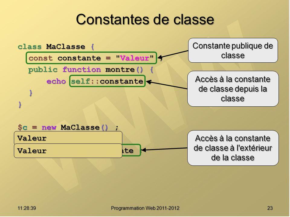 2311:30:19 Programmation Web 2011-2012 Constantes de classe class MaClasse { const constante = Valeur ; public function montre() { echo self::constante ; }} $c = new MaClasse() ; $c->montre() ; echo MaClasse::constante ; Constante publique de classe Accès à la constante de classe depuis la classe Accès à la constante de classe à l extérieur de la classe Valeur Valeur