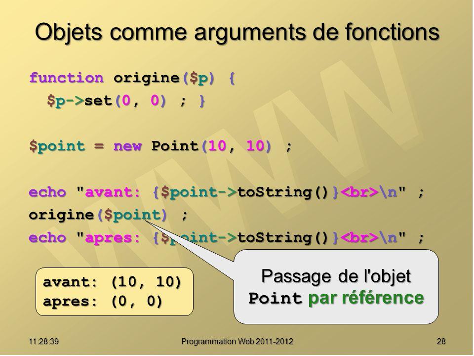 2811:30:19 Programmation Web 2011-2012 Objets comme arguments de fonctions function origine($p) { $p->set(0, 0) ; } $point = new Point(10, 10) ; echo avant: {$point->toString()} \n ; origine($point) ; echo apres: {$point->toString()} \n ; avant: (10, 10) apres: (0, 0) Passage de l objet Point par référence