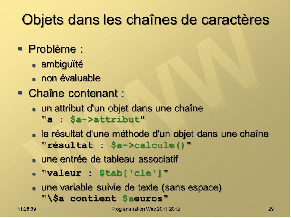 2911:30:19 Programmation Web 2011-2012 Objets dans les chaînes de caractères Problème : Problème : ambiguïté ambiguïté non évaluable non évaluable Chaîne contenant : Chaîne contenant : un attribut d un objet dans une chaîne a : $a->attribut un attribut d un objet dans une chaîne a : $a->attribut le résultat d une méthode d un objet dans une chaîne résultat : $a->calcule() le résultat d une méthode d un objet dans une chaîne résultat : $a->calcule() une entrée de tableau associatif une entrée de tableau associatif valeur : $tab[ cle ] valeur : $tab[ cle ] une variable suivie de texte (sans espace) \$a contient $aeuros une variable suivie de texte (sans espace) \$a contient $aeuros