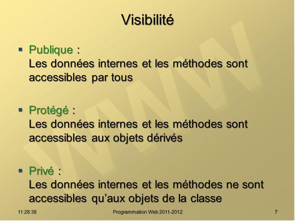 Visibilité Publique : Les données internes et les méthodes sont accessibles par tous Publique : Les données internes et les méthodes sont accessibles