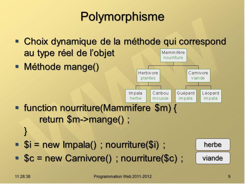 Polymorphisme Choix dynamique de la méthode qui correspond au type réel de lobjet Choix dynamique de la méthode qui correspond au type réel de lobjet Méthode mange() Méthode mange() function nourriture(Mammifere $m) { return $m->mange() ; } function nourriture(Mammifere $m) { return $m->mange() ; } $i = new Impala() ; nourriture($i) ; $i = new Impala() ; nourriture($i) ; $c = new Carnivore() ; nourriture($c) ; $c = new Carnivore() ; nourriture($c) ; 911:30:19 Programmation Web 2011-2012 herbe viande
