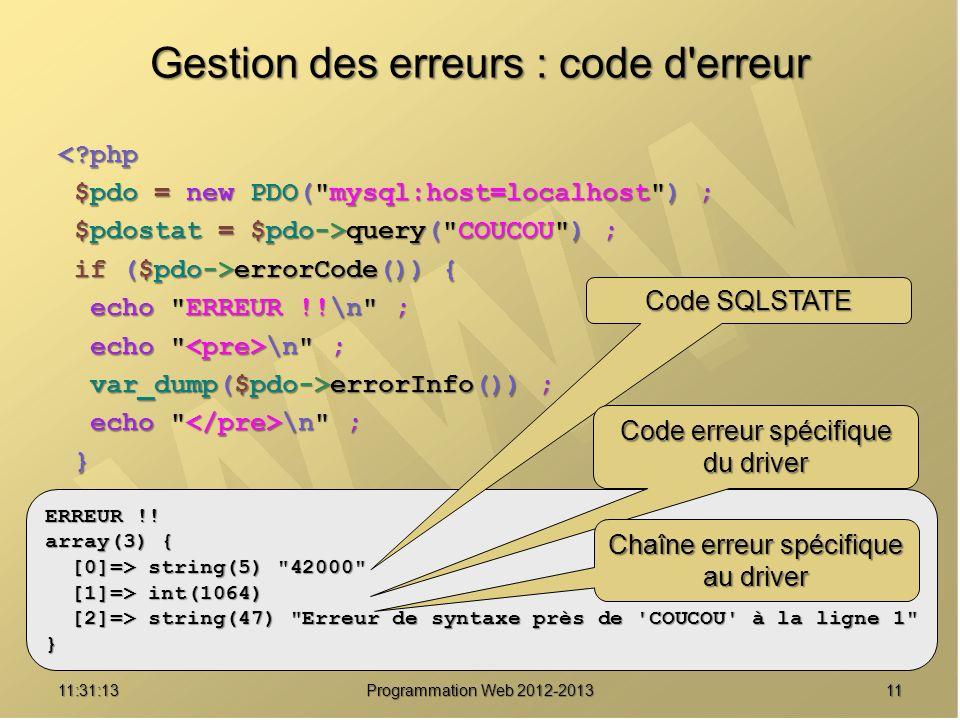1111:32:56 Programmation Web 2012-2013 Gestion des erreurs : code d'erreur <?php $pdo = new PDO(