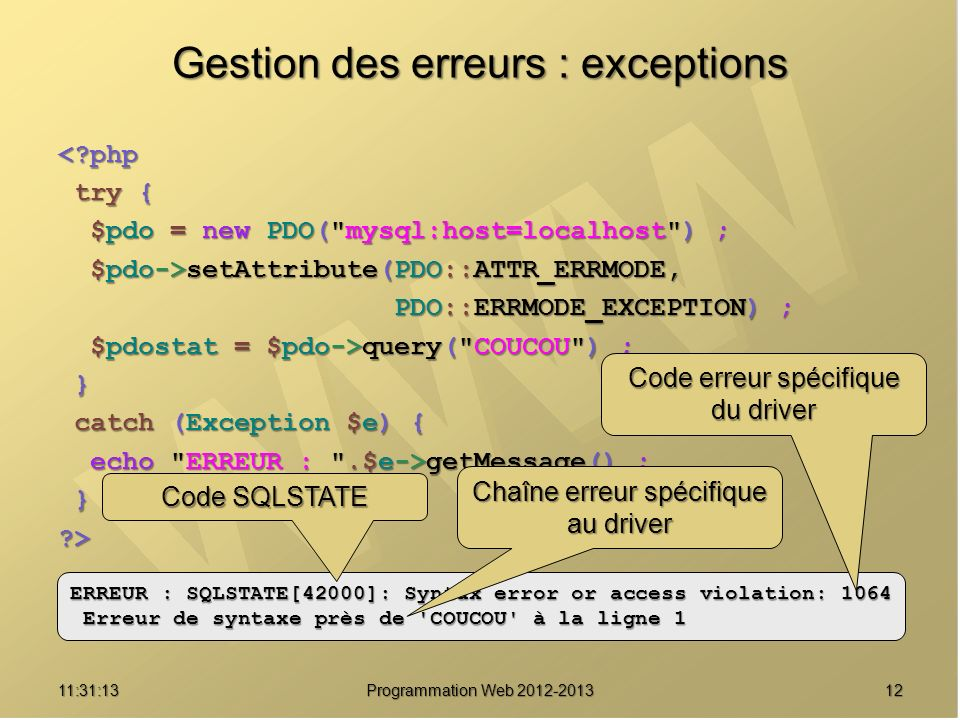 1211:32:56 Programmation Web 2012-2013 Gestion des erreurs : exceptions <?php try { try { $pdo = new PDO(