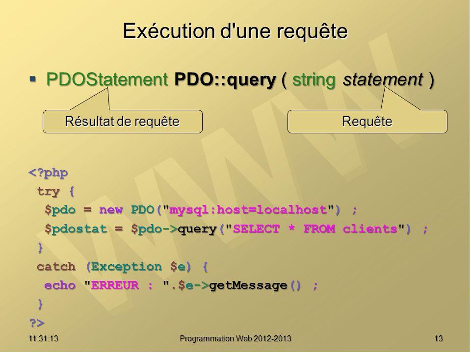 1311:32:56 Programmation Web 2012-2013 Exécution d'une requête PDOStatement PDO::query ( string statement ) PDOStatement PDO::query ( string statement