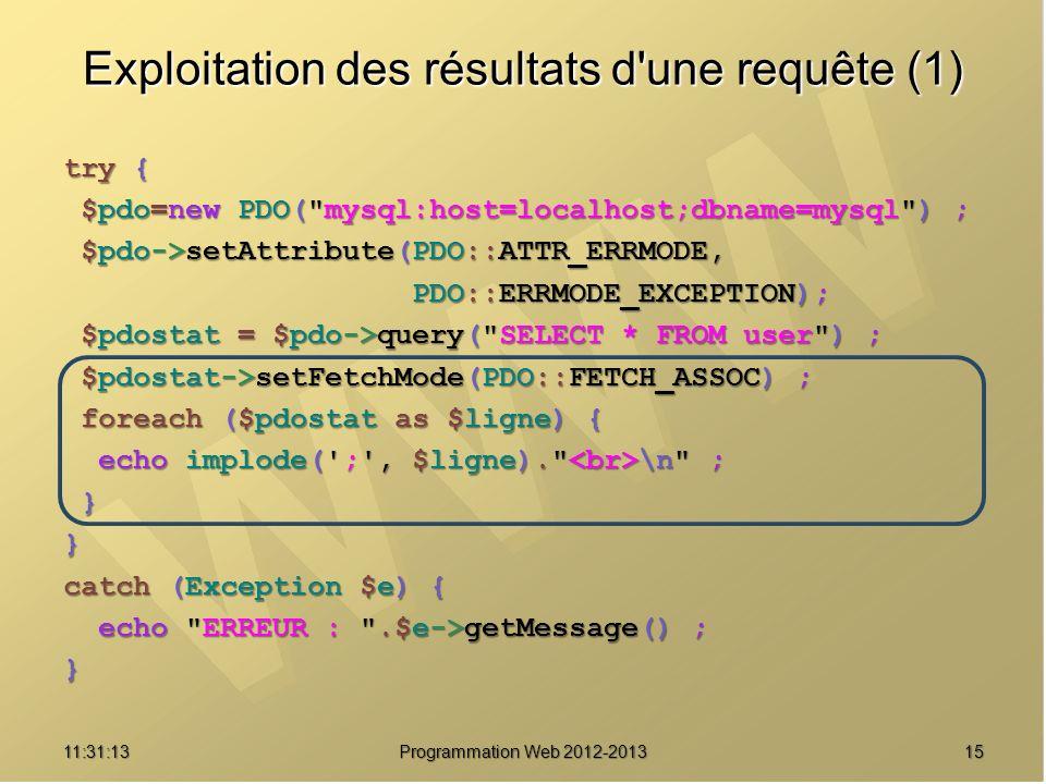 1511:32:56 Programmation Web 2012-2013 Exploitation des résultats d'une requête (1) try { $pdo=new PDO(