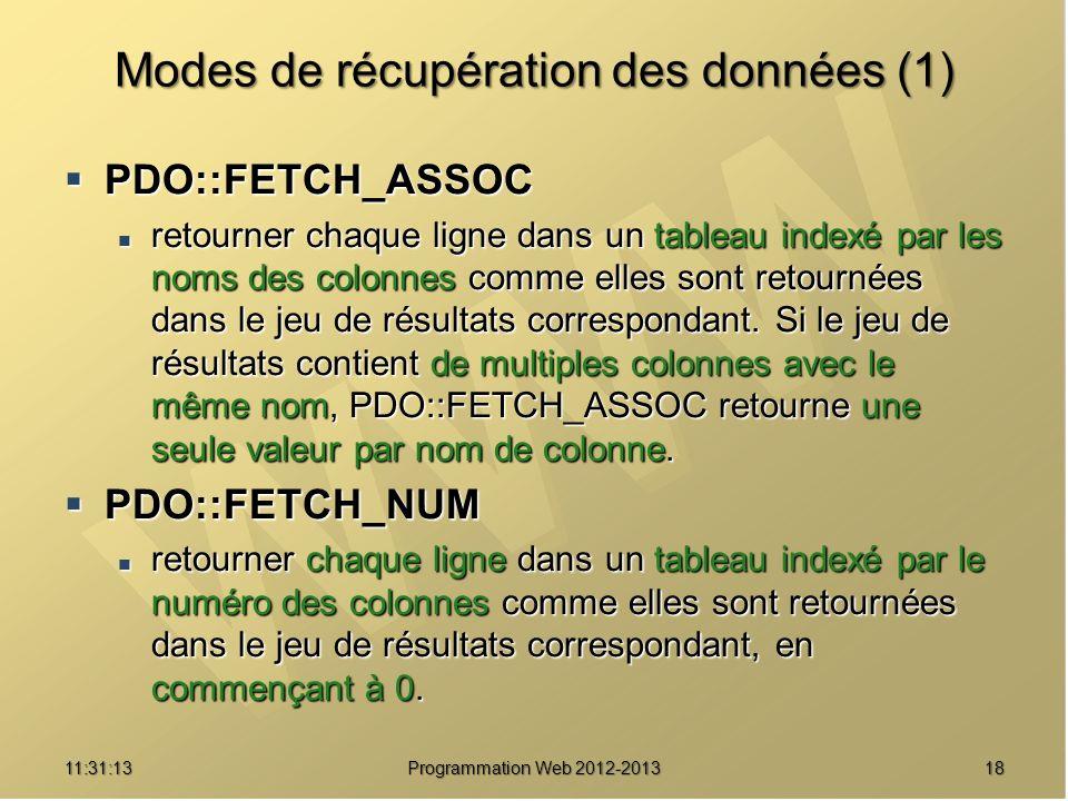 1811:32:56 Programmation Web 2012-2013 Modes de récupération des données (1) PDO::FETCH_ASSOC PDO::FETCH_ASSOC retourner chaque ligne dans un tableau