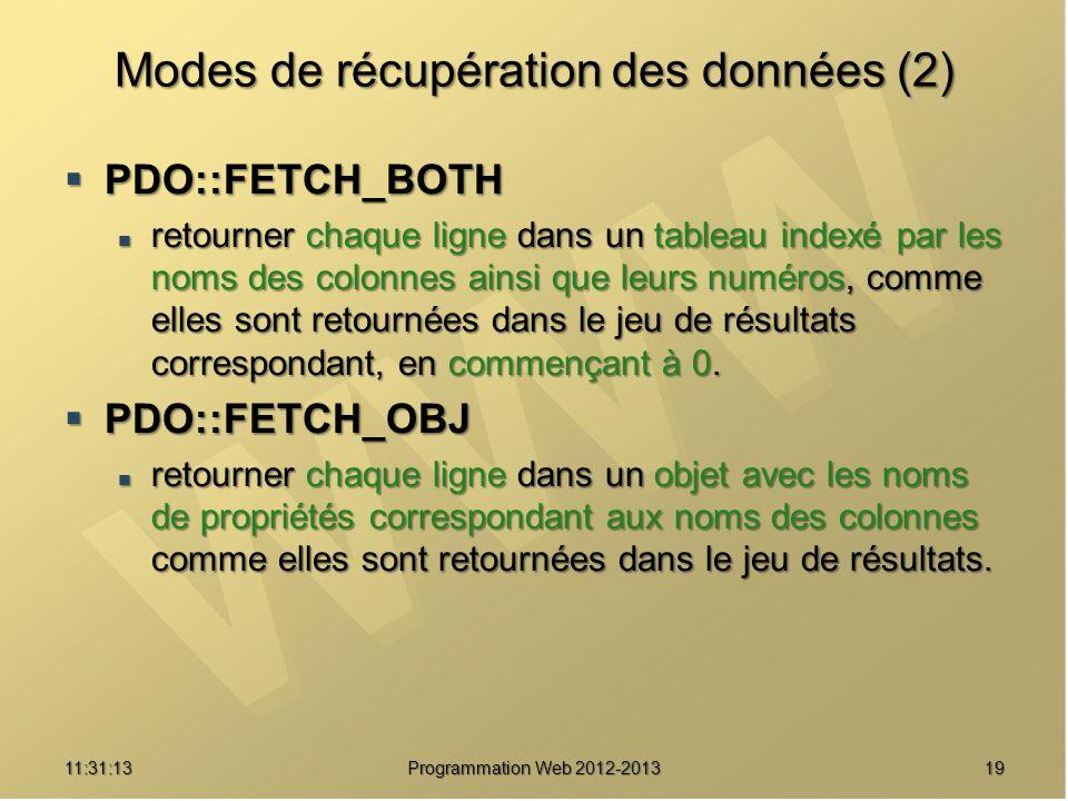 1911:32:56 Programmation Web 2012-2013 Modes de récupération des données (2) PDO::FETCH_BOTH PDO::FETCH_BOTH retourner chaque ligne dans un tableau in